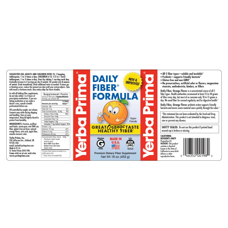 Daily Fiber Formula Orange Flavor Yerba Prima