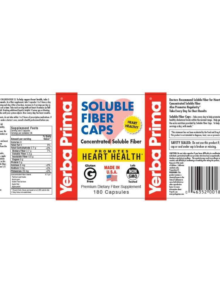 Yerba Prima Soluble Fiber Capsules Label