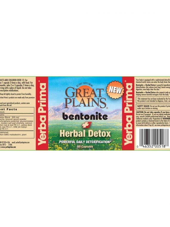Yerba Prima Great Plains Bentonite + Herbal Detox